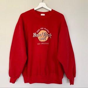 Vintage 90s Hard Rock Cafe Sweatshirt | Red | L